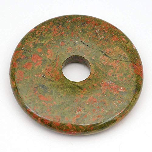 30mm Gemstone Unakite Jasper Donut Pendant Semi Precious Beads for Jewelry Making 2 Pieces (Inside 7mm)