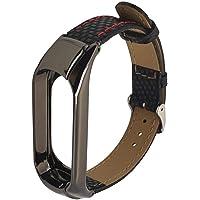 Banda de Reloj de Cuero - Correa de Repuesto de Cuero Longtis con Cierre de Acero Inoxidable para Xiao Mi Band 3
