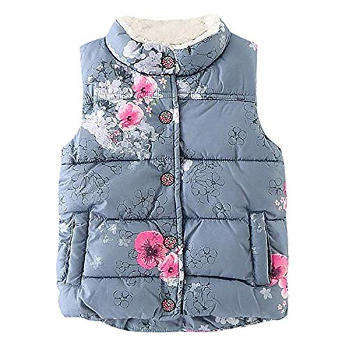 Showtime Little Girls Vests Outerwear Cute Floral Faux Fur Jacket Lightweight Fall Winter Waistcoat by Showtime