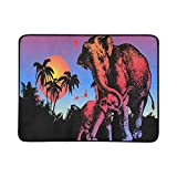 WHIOFE Mother Elephant and Child Elephant On Watercolor P Pattern Portable and Foldable Blanket Mat 60x78 Inch Handy Mat for Camping Picnic Beach Indoor Outdoor Travel