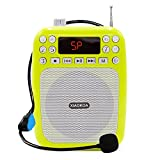 XIAOKOA Ultralight Voice Amplifier with Headset Microphone Mini Portable Loudspeaker Megaphone Support FM Radio MP3 Player Support TF/SD Card(N30A Green)