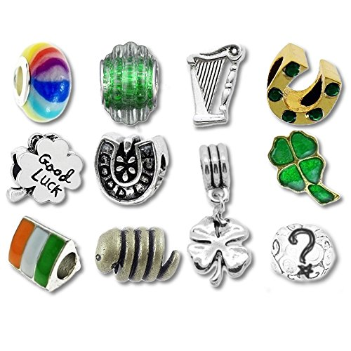 European Charm Bracelet Charms and Beads For Women and Girls Jewelry, Lucky Irish Green by Timeline Treasures (Image #1)