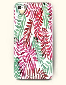 SevenArc Phone Cover Apple iPhone case for iPhone 4 4s -- Maroon Pink Light Green Leaf Doodle