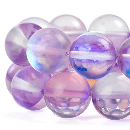 Purple Earrings Chandelier (RUBYCA Round Moonstone Crystal Glass Beads Aura Iridescent for Jewelry Making (1 strand, 8mm, Purple))