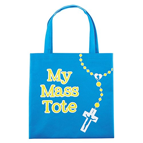 (My Mass Tote Blue Nylon Bag With Our Father Prayer, 10 Inch)