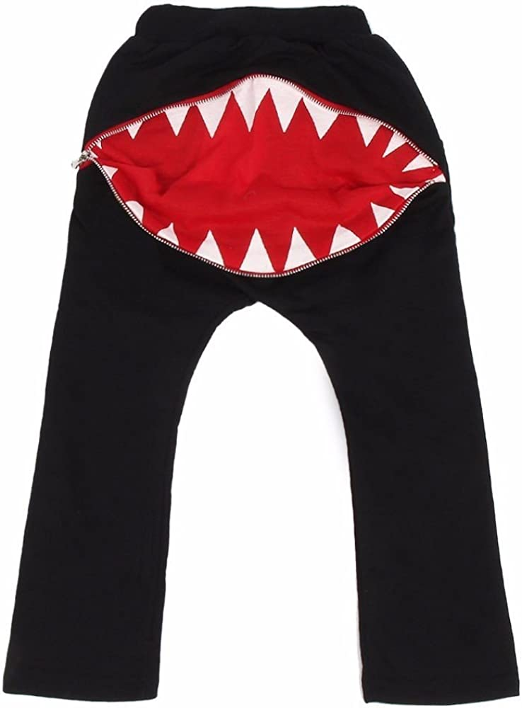 Fullkang Unisex Kids Supper Cute Zipper Shark Teeth Harem Pants Trousers