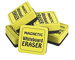 The Classics Magnetic Whiteboard Dry Erasers (12), 2 x 2 Inches, 12 Pack, Yellow/Black (TPG-355)