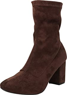 e843e9f36f8 Cambridge Select Women s Stretch Sock Chunky Block Heel Ankle Bootie