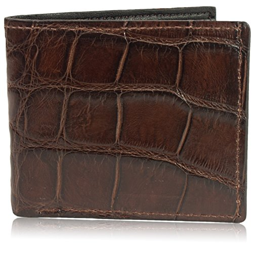 gator Bifold Wallet Handmade ( 6 Card Slots, Brown ) (Genuine Alligator)