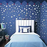 Wall Decal Dots | Easy to Peel Easy to Stick + Safe on Painted Walls | Removable PVC Polka Dot Decor | Round Sticker for Nursery Room (Silver, 160 Dot)