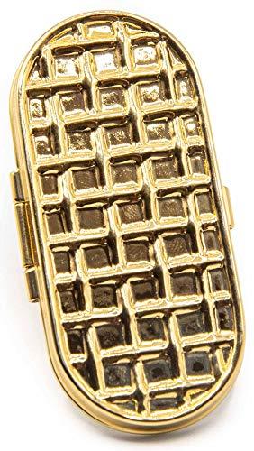 Gold Honeycomb Vintage Snap Clip On Lipstick Holder
