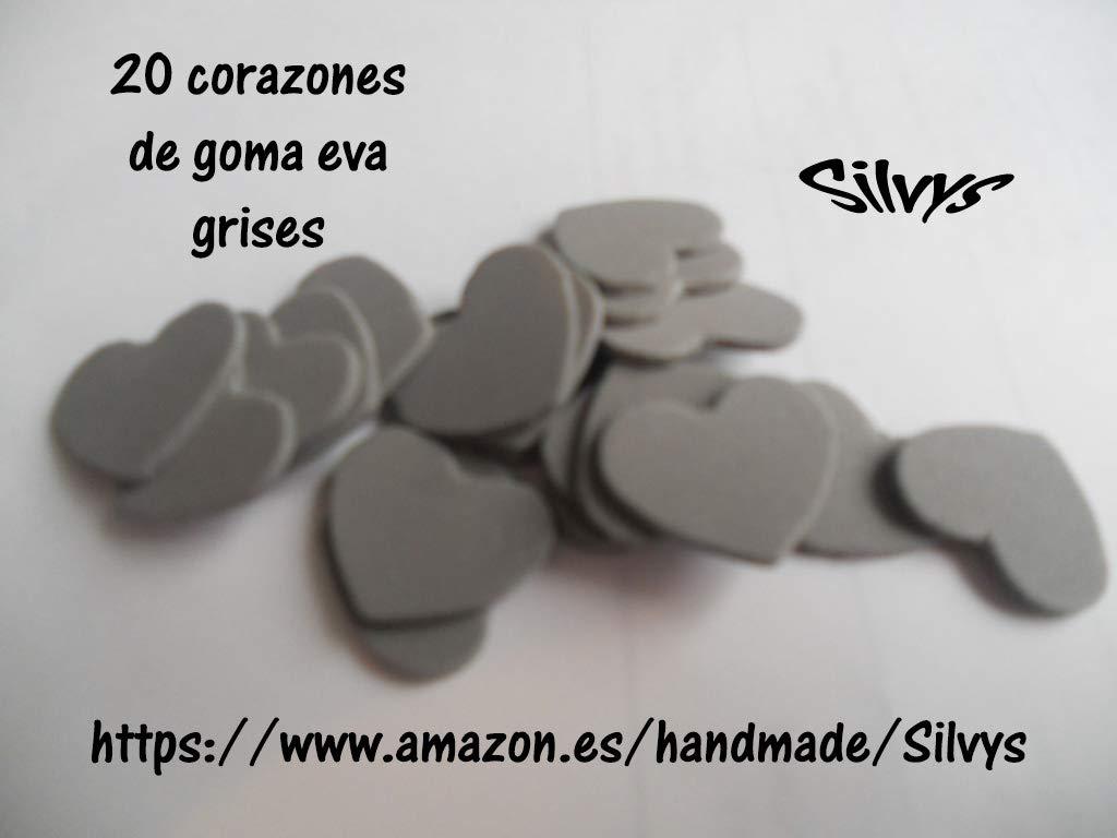 20 corazones de 2,5 cm x 2,5cm aprox. de color gris de goma ...