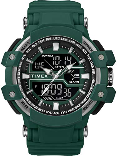Timex Men's TW5M22800 DGTL 53mm Big Combo Marine Green/Nrgative Resin Strap ()