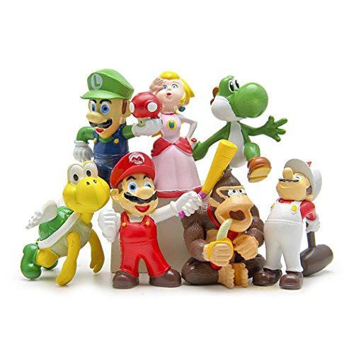 "7 Pcs (1 Set ) Super Mario Bros Super Mary Princess, Turtle, Orangutan , Super Mary Action Figures, 1.8"""