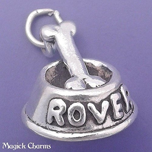 925 Sterling Silver 3-D Dog Bowl with Bone Charm Rover Pendant Jewelry Making Supply, Pendant, Charms, Bracelet, DIY Crafting by Wholesale Charms
