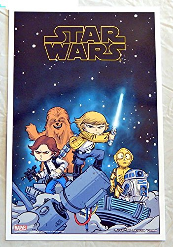 Star Wars #1 Skottie Young Babies Comic Book Cover Art LITHOGRAPH 10 X 7 Inches - Marvel Comics 2015 - UNCIRCULATED Graded 9.8 by ME The Seller - THIS IS NOT A COMIC BOOK