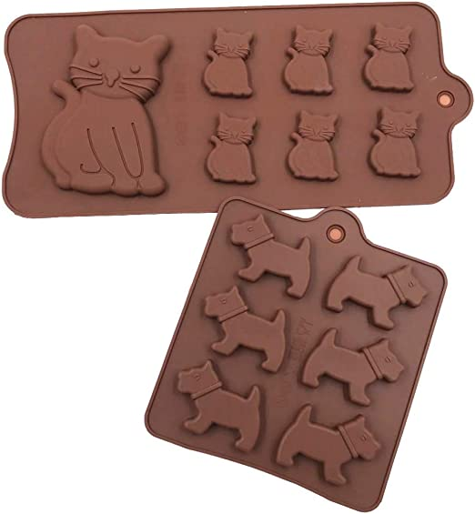 Beasea 3 Pack Silicone Trays with Puppy Dog Paw and Bone Shape Reusable Bakeware Maker for Baking Chocolate Candy Cake Decoration Chocolate Molds