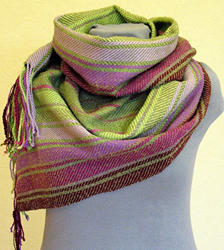 - Striped Scarf Burgundy Pink Violet Salad Green hand woven cloth