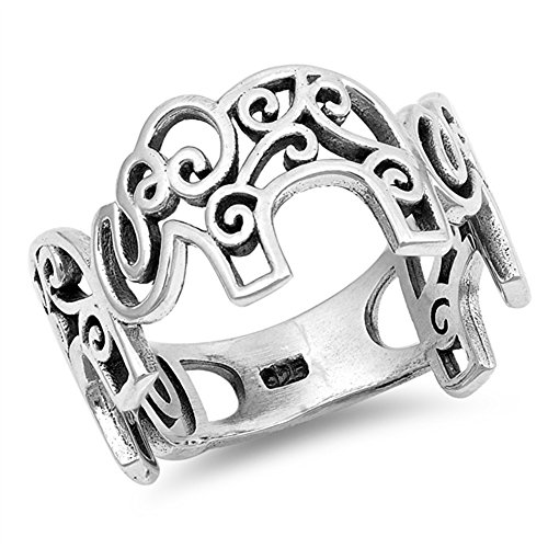 (Filigree Oxidized Elephant Swirl Ring New .925 Sterling Silver Band Size 7)