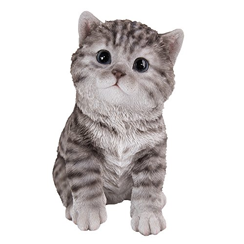 Pacific Giftware Realistic and Cute Grey Tabby Kitten Collectible Figurine Amazing Detail Glass Eyes Hand Painted Resin Life Size 8 inch Figurine Perfect for Cat Lover ()