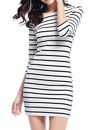 Striped XL Sleeve 4 Genluna XS White Bodycon Women's 3 Casual Dress Dresses pqIpZgF