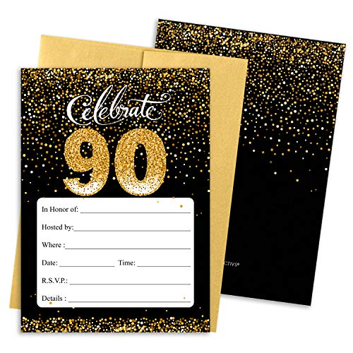 Black and Gold 90th Birthday Party Invitations | 10 Cards with Envelopes -
