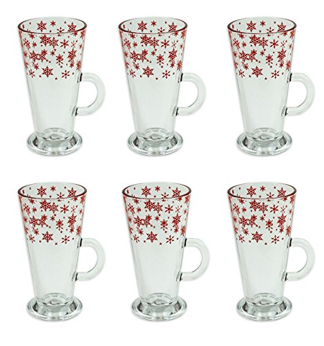 Christmas Latte Glass Set of 6 Festive Party Xmas Mugs Home Kitchen Coffee Cups Tea Cups Latte Glasses Christmas Mugs Glass Mugs Snowflake Design Party Tableware Christmas Party Xmas Decorations Christmas Tableware Xmas Lunch RSW