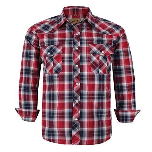 Coevals Club Men's Button Down Plaid Long Sleeve Work Casual Shirt (Red Black #24, ()