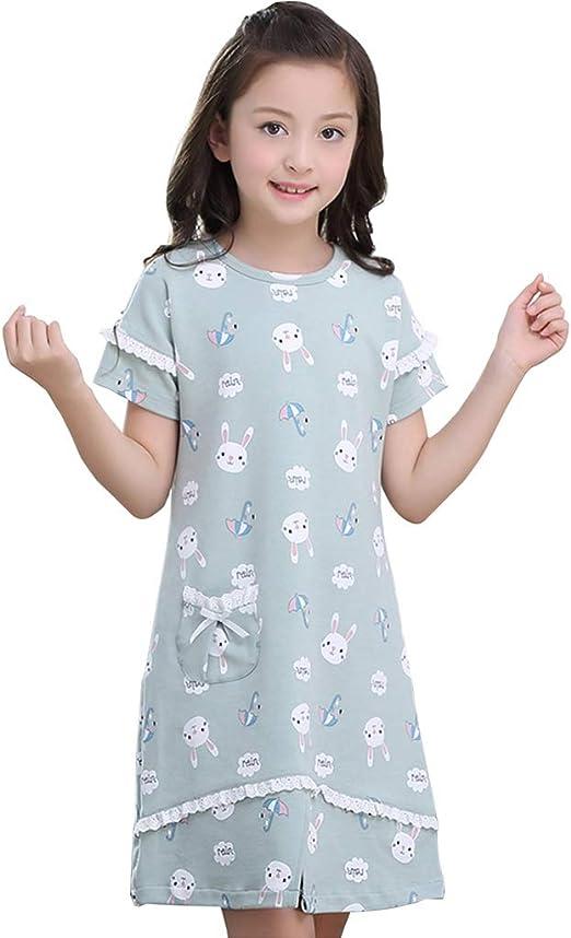 Camisones Camisas De Noche para Niñas Bata De Baño para Niña Algodón 100% Ropa De Dormir De Verano para Niños Servicio En El Hogar Puede Usarse Afuera (Color : Green, Size :