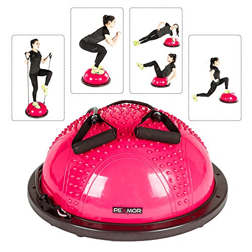 PEXMOR Yoga Half Ball Balance Trainer Exercise Ball Resistance Band Two Pump Home Gym Core Training (Massage Version - - Workout Exercise Equipment