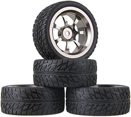 Mxfans RC 1: 10オンロード車ブラックFlameパターンラバータイヤ&グレーアルミニウム合金7-spokeホイールリム12mmドライブ六角のセット4
