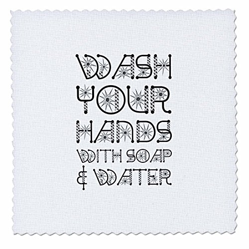(3dRose Alexis Design - Funny Micro Biology - Wash Your Hands with soap and Water Stylized Decorative Text on White - 14x14 inch Quilt Square (qs_285969_5))