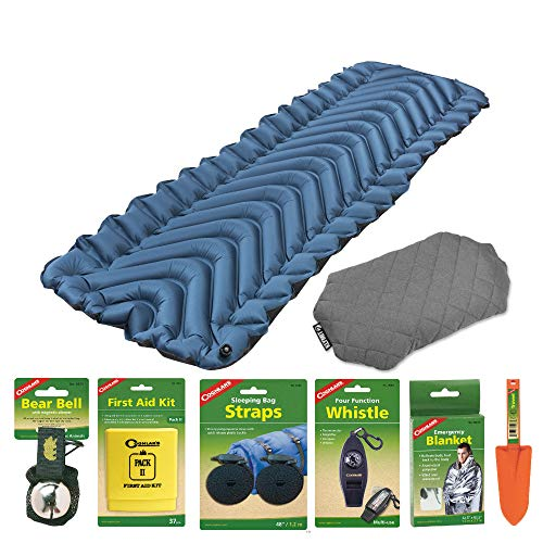Klymit Armored V Lightweight Sleeping Pad (Blue) with Luxe Pillow (Gray) and Camping Essentials Kit | Emergency Blanket, Bear Bell, Whistle, First Aid Kit, and More Included in Bundle