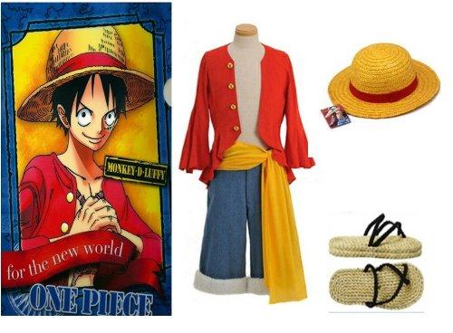 One Piece Monkey D. Ruffy Cosplay, 2 Jahre später Monkey D Luffy Kostüm Kombination, Größe S (155-160 cm,40-50 kg)