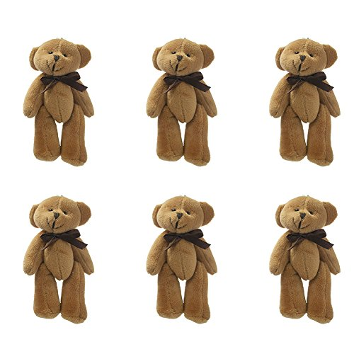 4 Teddy Bear (GOGO 4 Inch Stuffed Plush Teddy Bear with Bow, Coffee, Pack Of 6, Valentine's Gift Idea)