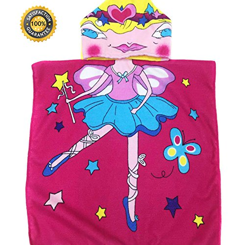 Hooded Princess Beach Towel for Kids Pool Towels| Childrens Towels for Ages 1 to 6 Years Old| Large Size 48 X 24 for Girls |Girl Poncho Style for Infant & Baby Toddlers- Princess