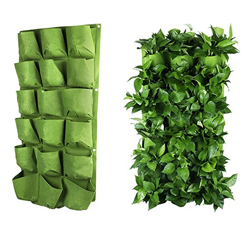 Hanging Grow Bags - Wall Planter Holder 18 Pockets Wall Hanging Planter Garden Grow Bags (3X6)