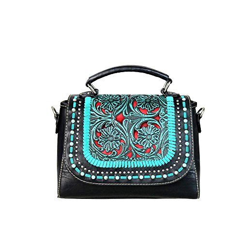 TR49-8360 Trinity Ranch Tooled Collection Satchel/Crossbody with Vintage Floral Tooled Leather (Turquiose)