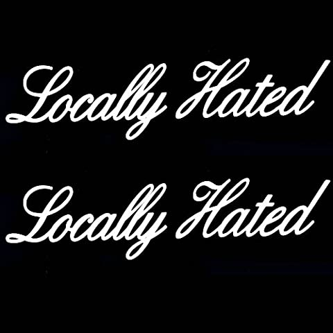 iJDMTOY (2) JDM Locally Hated Die-Cast Vinyl Decals, Funny Style JDM Stickers For Car Windshield, Side Windows, Bumpers, - 2 Decal Bumper Sticker