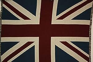 UK United Kingdom Union Jack British Flag Cotton Throw Blanket