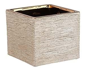 """Napco Ceramic Copper Rock Textured Cube Planter, 4.25"""""""