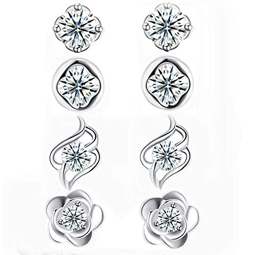 Sterling Ear Studs Silver (DreamSter 4 Pairs Flower Stud Earrings Sterling Silver Cubic Zirconia Earrings for Women Teen Girls Small Silver CZ Post Earrings)