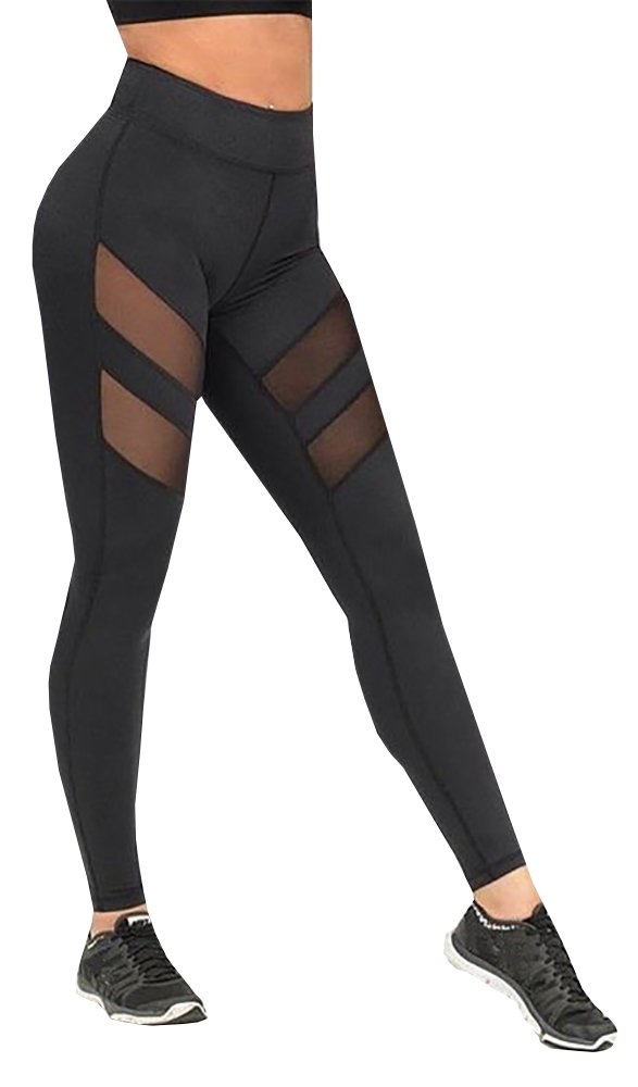 Nulibenna Women's Mesh Stretchy Workout Sportys Yoga Leggings Ninth Pants,Black 1,Medium by Nulibenna (Image #2)