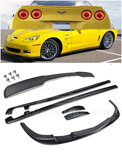 For 2005-2013 Chevrolet Corvette C6 Wide Body Models | EOS ZR1 Style ABS Plastic PRIMER BLACK Front Bumper Lip Splitter With Side Skirts Panels Mud Flaps Pair & Painted Matte Black Rear Wing Spoiler