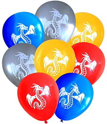 Nerdy Words Dragon Balloons (16 pcs) (Red, Blue, Butterscotch, Silver) ()