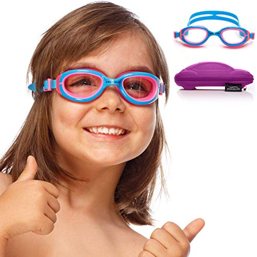 SWIM ELITE Kids Goggles for Swimming with Fun Car Hard Case for Kids & Toddlers Age 2-8 Years Old (Blue)