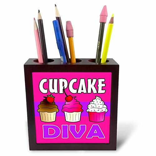 Diva Tile Coaster - 3dRose ph_43133_1 Cupcake Diva-Kawaii Cakes-Pink-Tile Pen Holder, 5-Inch