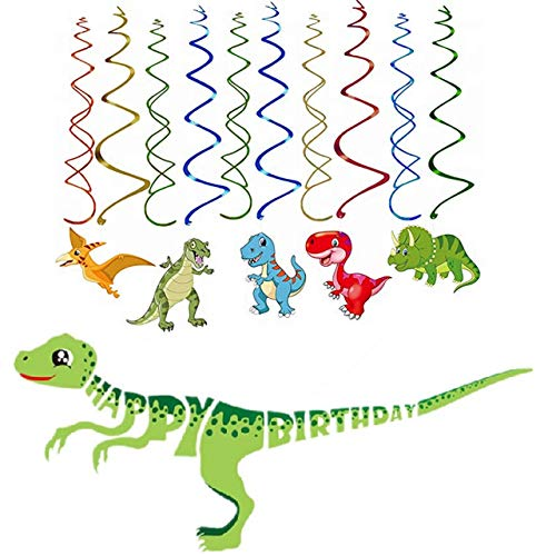 Istrion Dinosaur Birthday Party Supplies - Includes Dinosaur Happy Birthday Banner, 15 Hanging Swirl Decorations, and 15 Dinosaur Party Decorations