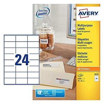 Avery 3475 Self Adhesive Multipurposecopier Labels 24 Labels Per