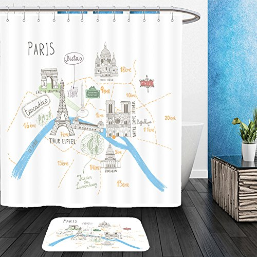 France Costume Information (Vanfan Bathroom 2 Suits 1 Shower Curtains &  1 Floor Mats simple cartooned map o paris with legend icons france 319821896 From Bath room)